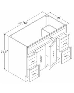Vanities with Drawers 48 60-Antique White